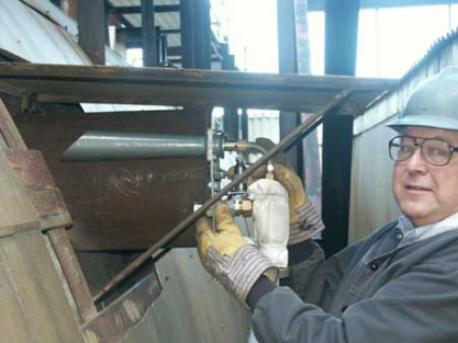 Cegrit Flyash sampler being inserted